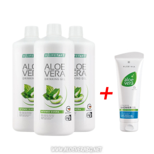 Комплект Aloe Vera Гел за пиене с коприва за Прочистване на кръвоносната система, Три бутилки + Витализиращ Душ-Гел за Невероятно усещане, Освежаване и Хидратиране