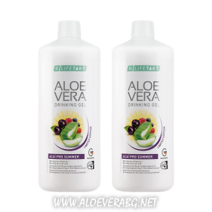 Aloe Vera ACAI PRO SUMMER Гел за пиене за Защита от Слънцето и от Дехидратация, Двоен Комплект