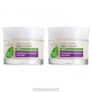 LR Aloe Vera Мултиактивен дневен крем за сияйна, жизнена и еластична кожа | Двоен комплект