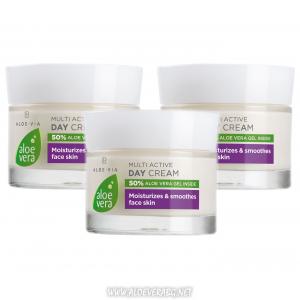 LR Aloe Vera Мултиактивен дневен крем за сияйна, жизнена и еластична кожа | Троен комплект