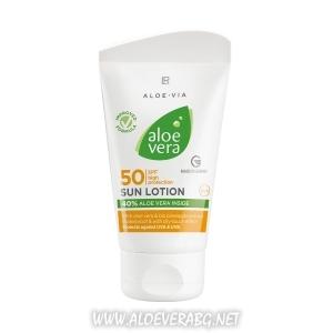 Слънцезащитен Лосион с фактор 50 за Деца и Хора с чувствителна кожа, Aloe Vera