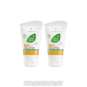 Слънцезащитен Лосион с фактор 50 за Деца и Хора с чувствителна кожа, Aloe Vera | Двоен комплект